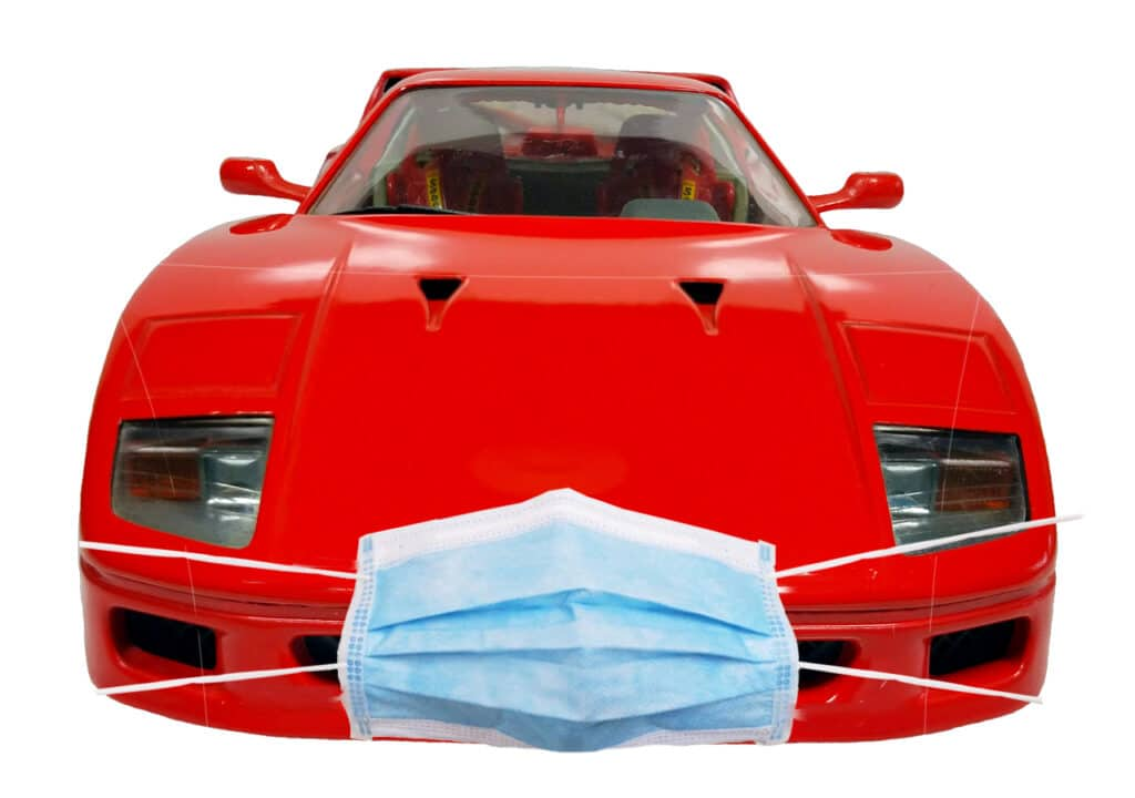 race car with surgical mask